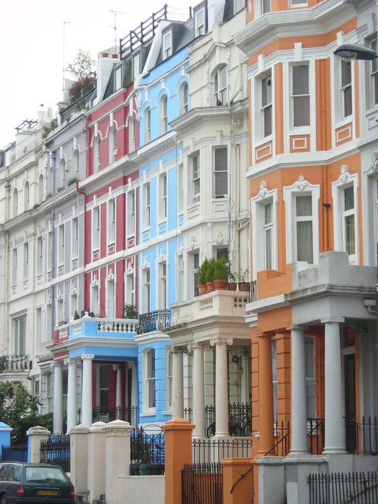 Notting Hill, London- I would love to live here!!! The colors! and it just looks so cozy in contrast with my spread out, secluded property.
