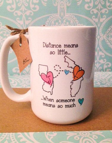 This is sooooo beautiful!!! STATE to STATE Long Distance Mug - 2 States - 2 Names - Color and Quote on Etsy, $13.95