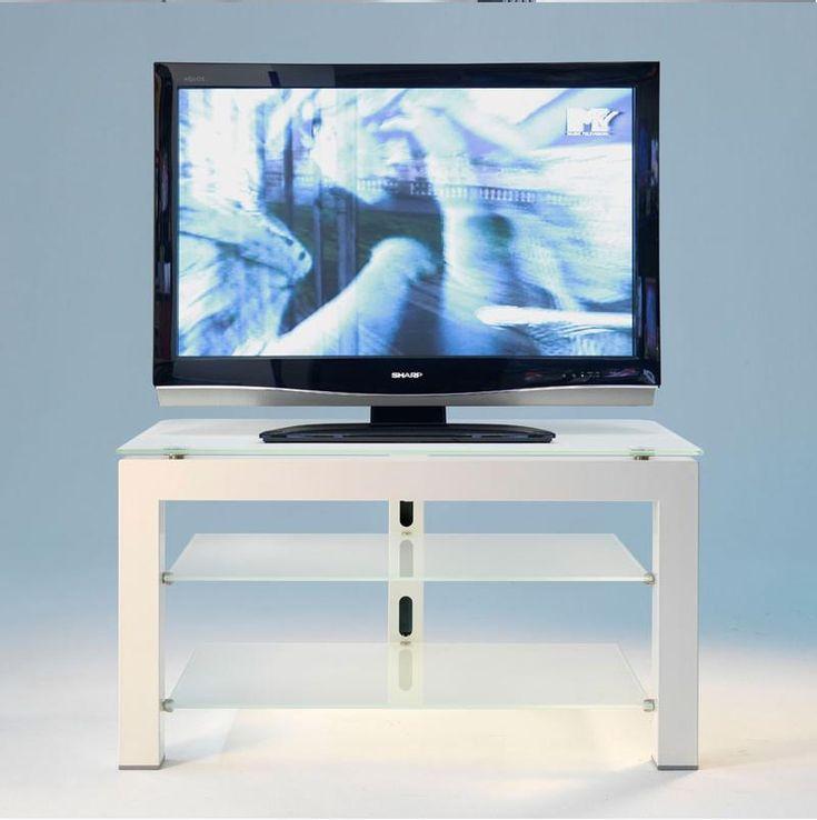 Porta TV a 3 Piani Metallo Bianco ripiani in vetro satinato con colonna posteriore passacavi