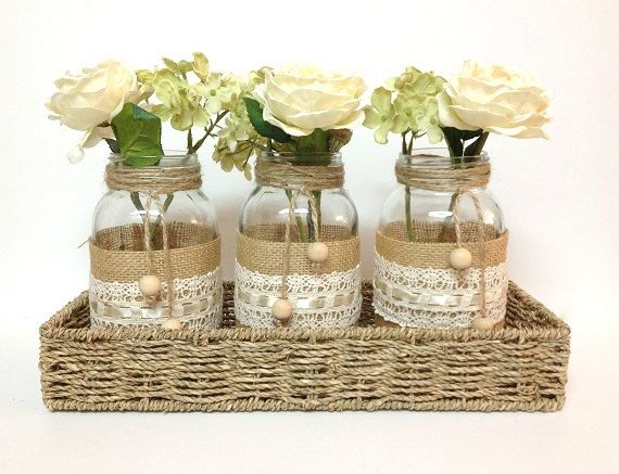 4 piece purlap and lace covered mason jar vases - home decor, wedding decor, country style vases, unique decor via Etsy