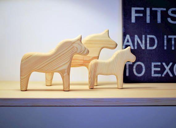 Set of 3 Wooden horse Scandinavian horse handmade wooden