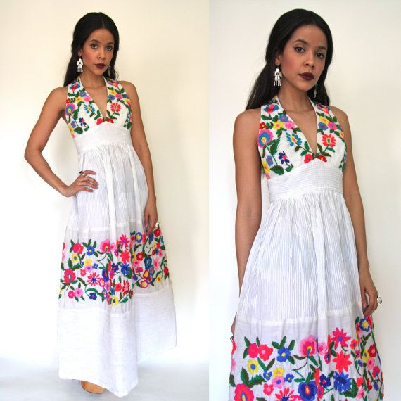 Vintage 70s Mexican Oaxacan Embroidered White Maxi Dress Hippie Wedding Festival