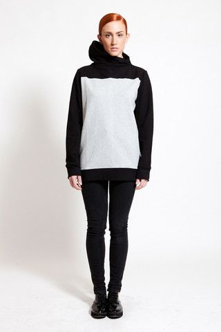 Two- toned assymetric turtle neck sweatshirt by DIG ATHENS. At the end, it is all about the details!