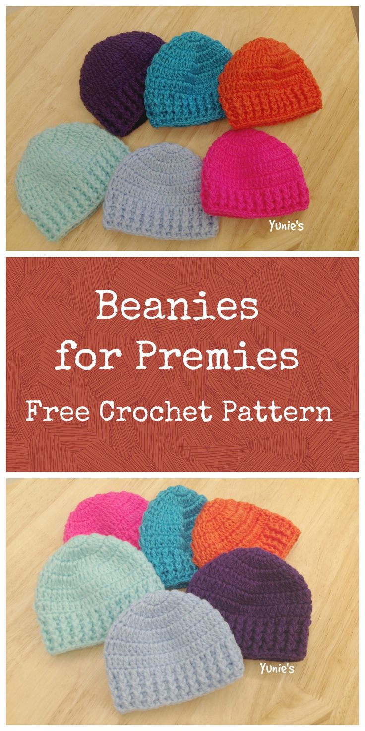 Beanies for Premies. A Free and simple beanie designs for preemies babies. Quick last minute project that can be completed within an hour
