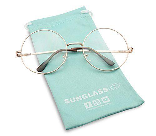 375c16ff8b2 SunglassUP Round Double Metal Wire No Prescription Oversized Sunglasses  Clear Lens Gold Circle Frame Glasses