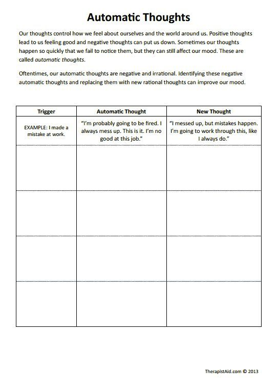 CBT Worksheets! Automatic Thoughts Preview. Good for negative self talk and filtering. #corebeliefs #selftalk #parenting