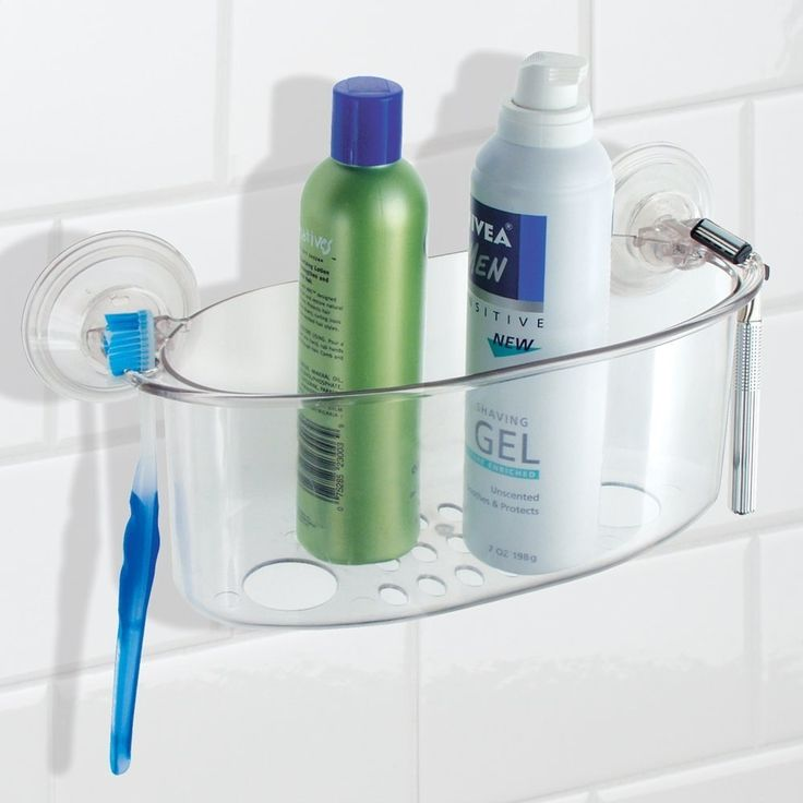 Hanging shower caddy with holes to easily drain the water. Built up water causing mold problem is now solved