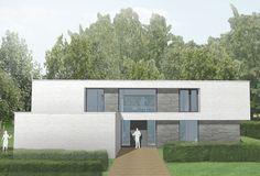 Woning in ontwerp 3 :  De architecten kiezen ervoor dat er 3 soorten materialen vooral terugkomen. Glas, (natuur)steen/baksteen, en witte pleister. Hierdoor stralen de woningen iets heel moderns uit, met toch een andere toets door de steen.