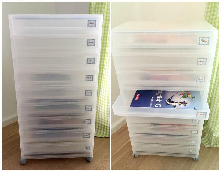 Ein Container ist die beste Aufbewahrung für Ordnung in den Schulsachen - für jedes Fach gibt es eine separate Schublade !