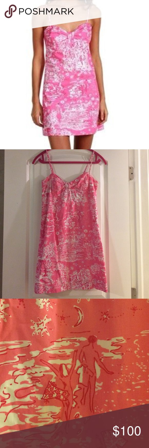 Lilly Pulitzer Skinny Dippin' Kelley dress Very good used condition due to not being the first owner.  Lilly lace intact.  Excellent print placement.  Size 4.  Cheaper on m Lilly Pulitzer Dresses