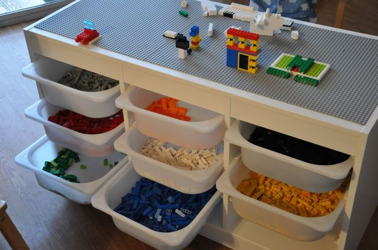 Just Ideas: Lego Storage made from IKEA unit - now if they could only stay sorted by color!!! ;)