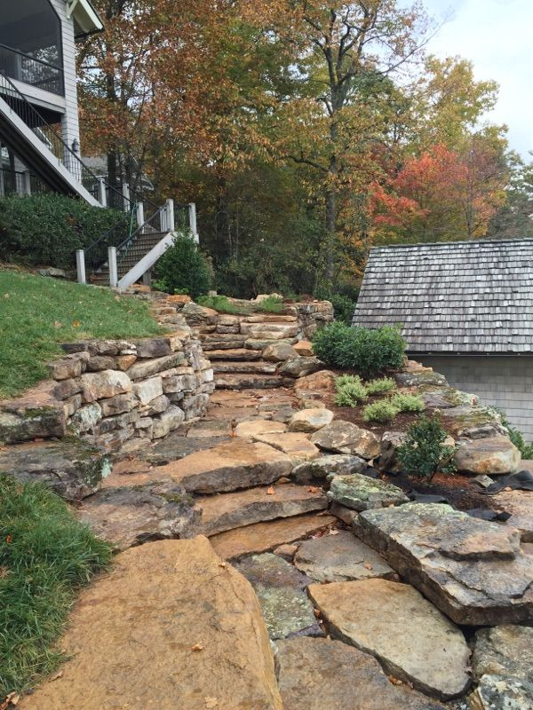 Boulder Wall Natural Steps Weathered Steppers By Nature S Way Landscaping Brevard Nc Mokit