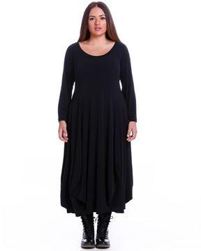 Zeige Details für Gerafftes Kleid in kaki und schwarz