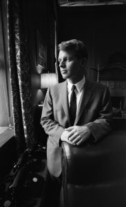 'There Is Another Kind of Violence, A Violence of Institutions'  United States Attorney General Robert Kennedy poses for a portrait in his Justice Department office circa 1964 in Washington, DC.  (Photo by Michael Ochs Archives/Getty Images)