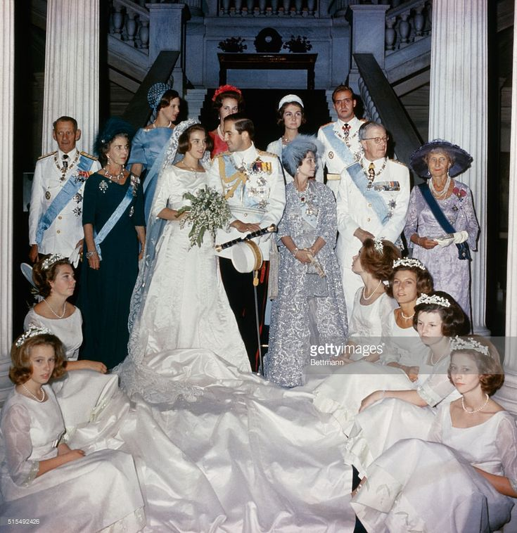 Athens, Greece. Royalty gathered after the marriage September 18th of King Constantine of Greece and Pricess Anne Marie of Denmark, include, from left to right, King Frederik of Denmark, Queen Ingrid of Denmark, Queen Anne Marie and king Constantine of Greece, ex-Queen Frederika of Greece and king Gustav of Sweden. In foreground, left, are Princess Anne of Great Britain and Princess Christina of Denmark.