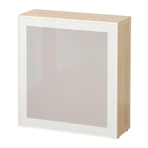 БЕСТО Стеллаж со стеклянн дверью - под беленый дуб/Глассвик белый/матовое стекло - IKEA