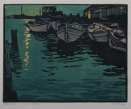 """Idle Boats - Oakland Estuary"" by William S. Rice (woodcut) #art #woodcut"