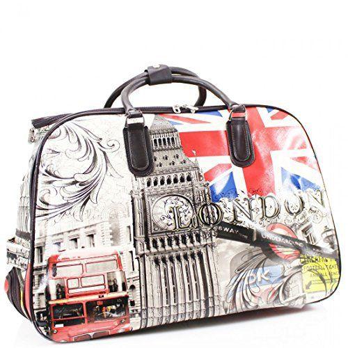 ydezire® Femmes Mesdames sac de voyage sac valise à roulettes Bagage Vacances Weekend Sac à main New: Motif Imprimé Sac à roulettes…