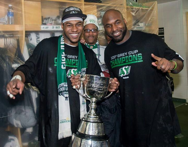 Kory Sheets & Darian Durant celebrate after 2013 Grey cup.