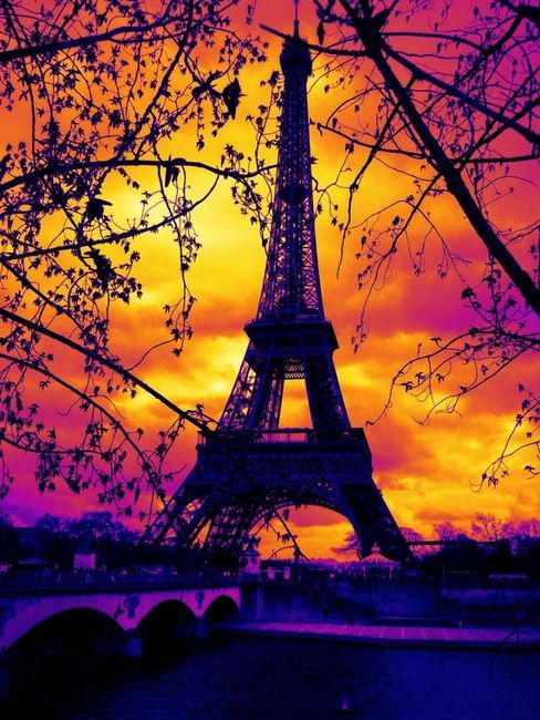 Eiffel in a flame of colors