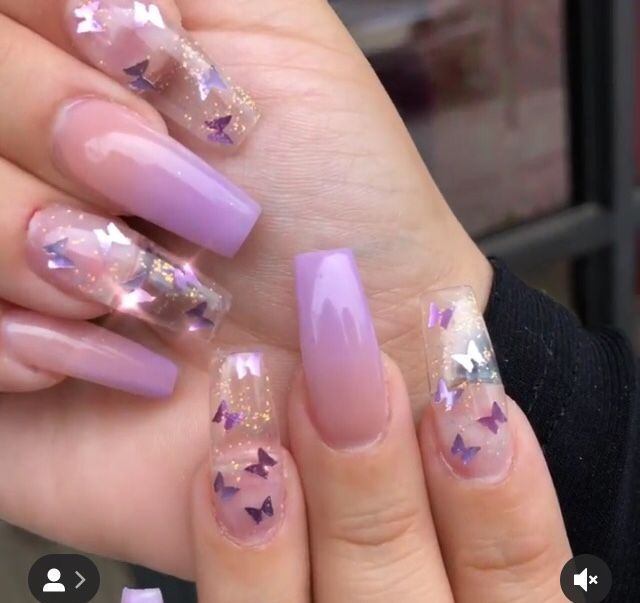 Butterfly Nails In 2020 Purple Acrylic Nails Purple Nails Butterfly Nail