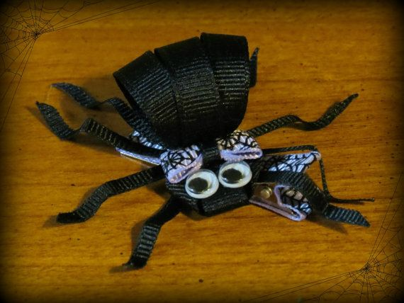 From ScrapManiacShop: Creepy Spider Halloween Ribbon Sculpture Hair Clip Bow with Googly Eyes and Grosgrain Ribbon on Partially Lined Alligator Clip for Girls