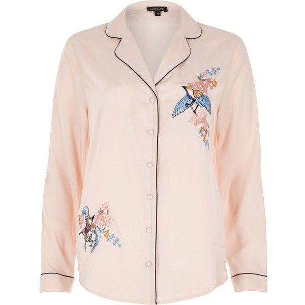 River Island Pink embroidered bird pajama shirt (€42) via Polyvore featuring intimates, sleepwear, pajamas, lingerie & sleepwear, pajamas / loungewear, pink, women, long sleeve pyjamas, pink lingerie y river island