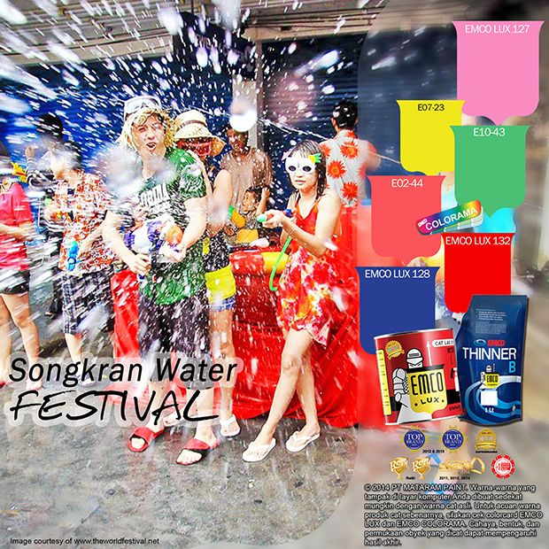 Kawan EMCO, hadirkan kemeriahan dan serunya perayaan Songkran Water Festival dengan warna EMCO LUX 127, EMCO LUX 132, EMCO LUX 128 dipadankan dengan EMCO COLORAMA E07-23, E02-44, E10-43  pada palet EMCO di hunian Anda. Untuk artikel menarik lainnya silahkan cek di http://matarampaint.com/news.php.
