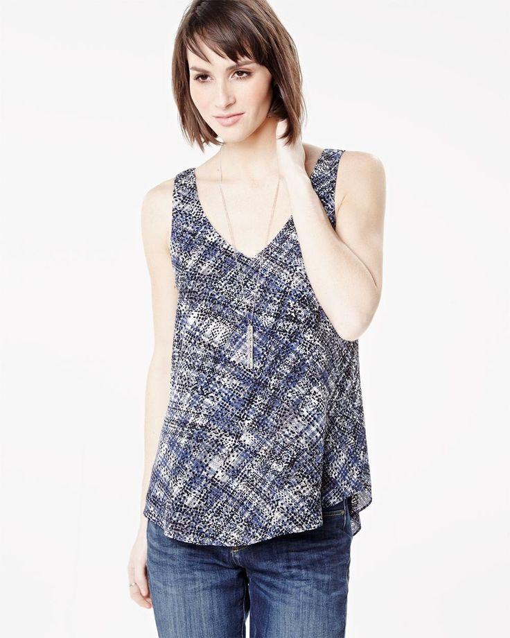 Printed V-neck woven cami  | RW&CO.