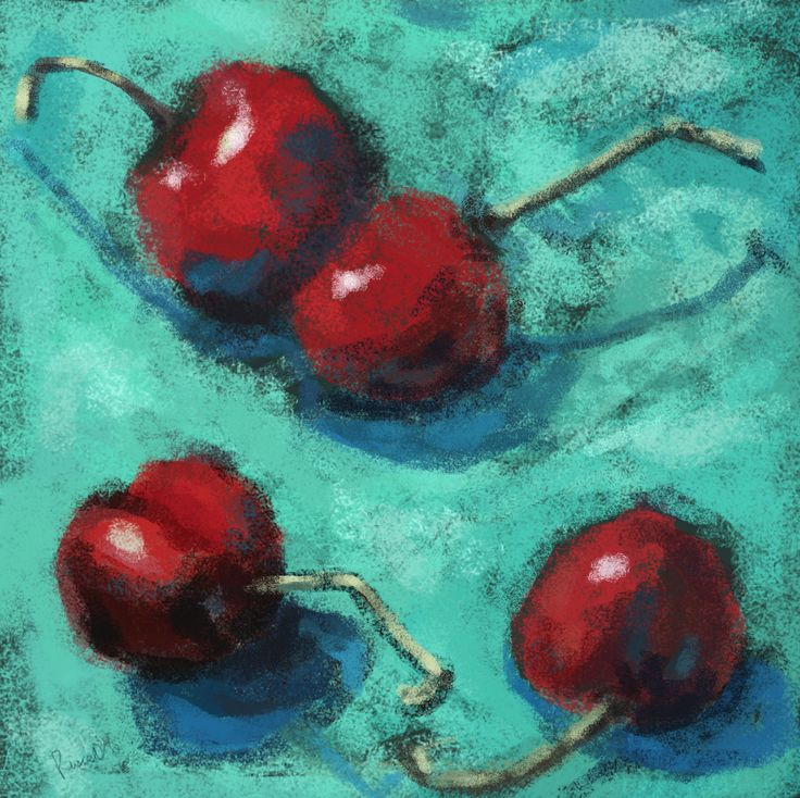 Untitled sketch book, painting updated from 2015 - 2017.  Red Cherries on Aqua. Christopher Russell. (Xristo Artworks Gallery)
