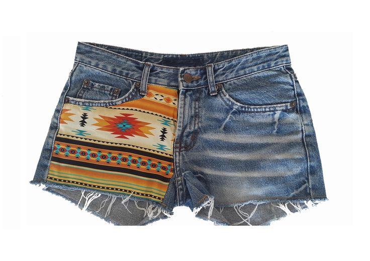 Short fait main ethnique aztèque / maya / Navajo en jeans taille 34/36 : Pantalons, jeans, shorts par rive-animal