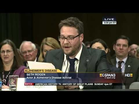 You might not expect to see Seth Rogen speaking on the allocation of funds for Alzheimer's research, but his mother-in-law has the disease, so the cause is deeply personal to him.   Seth Rogen Gives A Hilarious Yet Touching Speech Before A Senate Hearing On Alzheimer's Research