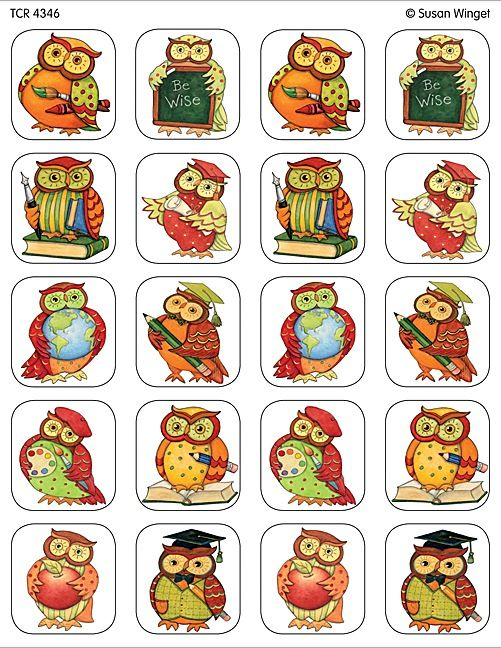 Susan Winget Owl Stickers from TeachersParadise.com