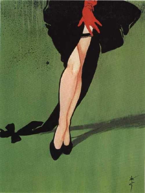 Illustration by Rene Gruau for Christian Dior stockings, 1953.