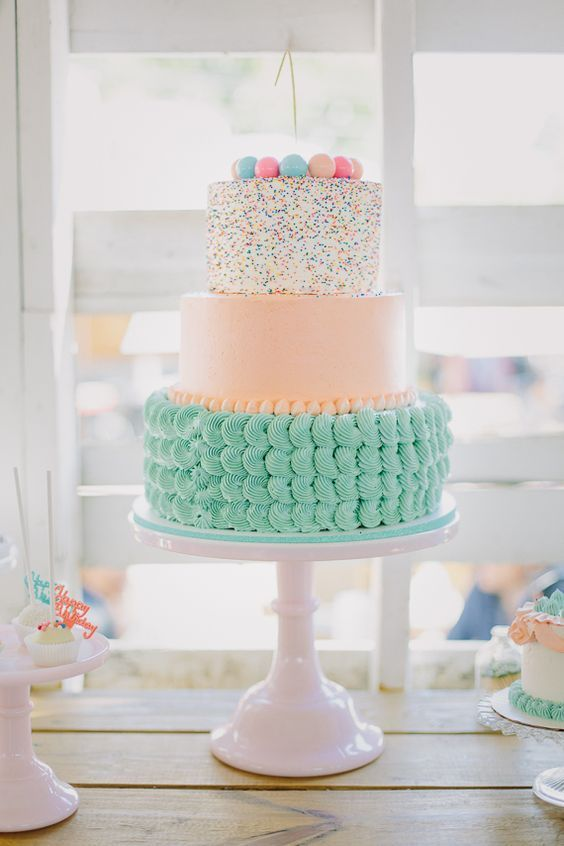 Birthday Cake Idea for First Birthday. Beautiful peach and aqua cake design.