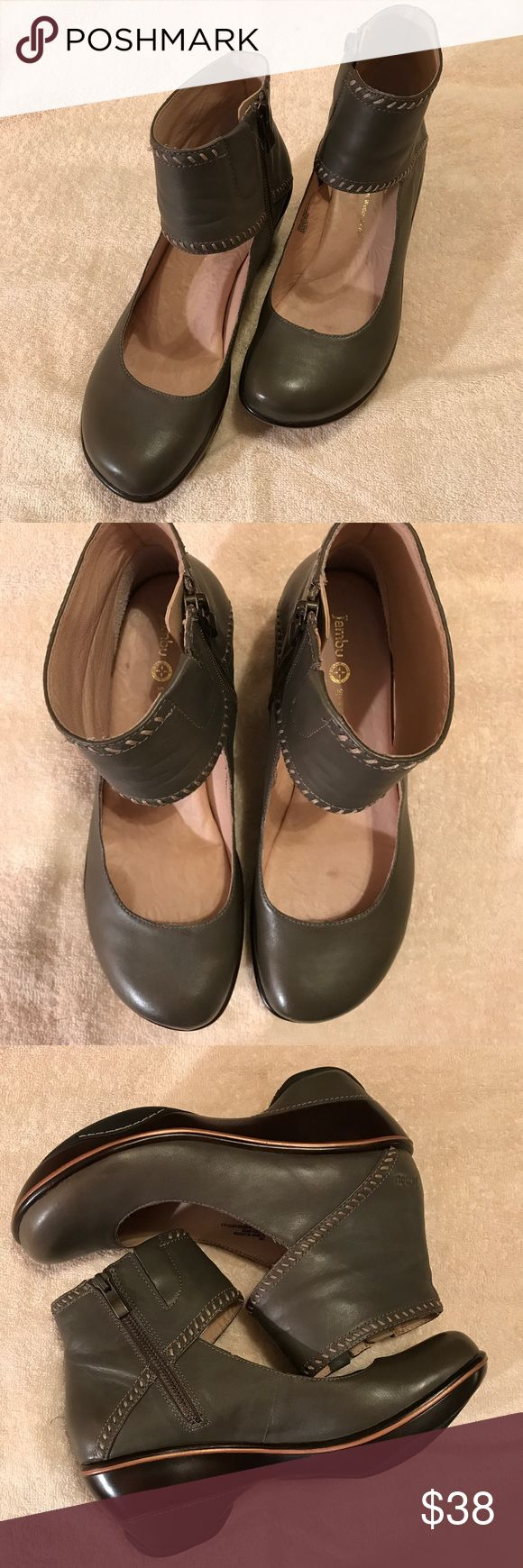 🎀 NEW 🎀 Jambu Booties Jambu known for style and comfort. Vegan leather booties with leather lining and cushioned footbed. Roxbury bootie in sage green with tan stitching. Inside zipper 2 inch heel and .50 inch platform. Like new! Super cute and comfy! Jambu Shoes Ankle Boots & Booties