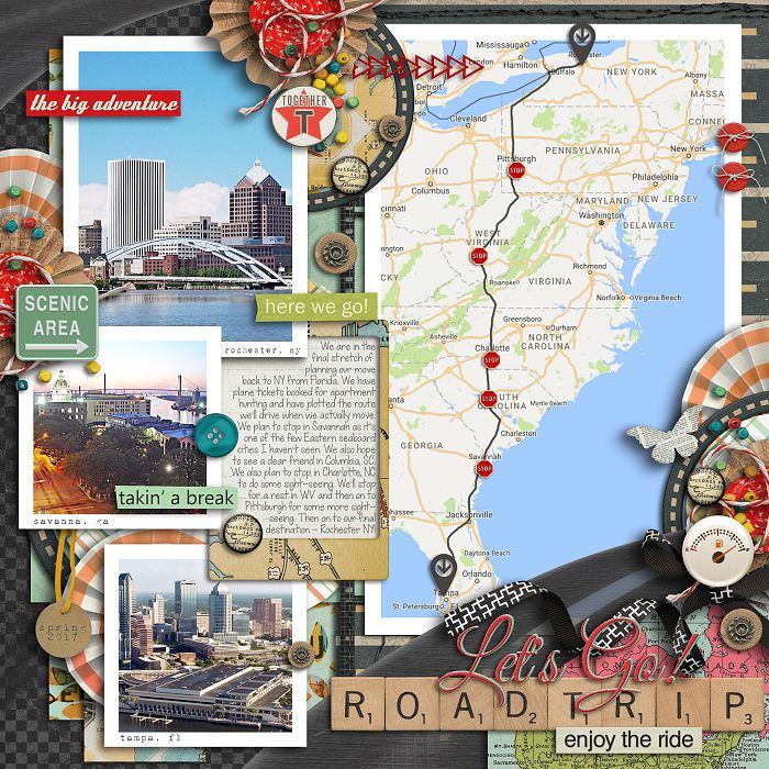 Great road trip scrapbook page layout