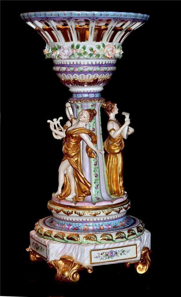 Huge Antique Dresden German Women Dancing Figurine Centerpiece Compote Bowl Vase Vase