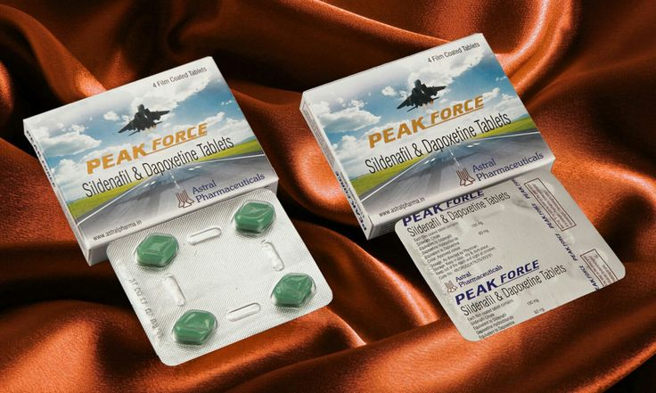 Brand Name: PEAK FORCE  Sildenafil 100mg + Dapoxetine 60mg Tablets  Product Code: M-3  Packing: Blister strip of 4 tablets packed in a multicolor laminated mono box. Such 25 boxes are kept in bigger multicolor laminated box. Also available in loose pack.  Erectile dysfunction and premature ejaculation belongs to one of the most common sexual disorders in men. Sildenafil 100 mg + Dapoxetine 60 mg Pills are an effective, safe and well tolerated treatment for ED & PE.