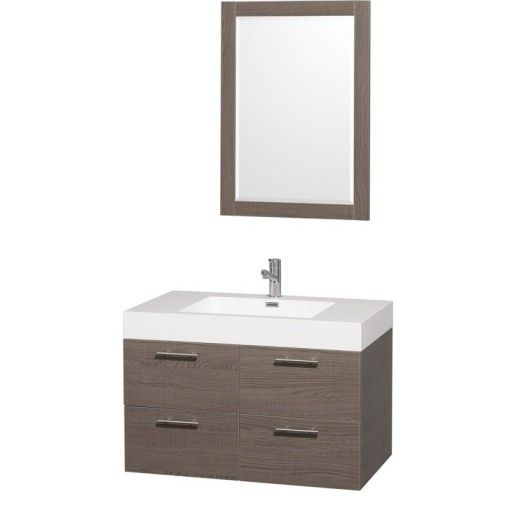 """Wyndham Collection Amare 36"""" Wall-Mounted Bathroom Vanity Set with Integrated Sink - Gray Oak WC-R4100-36-VAN-GRO-"""