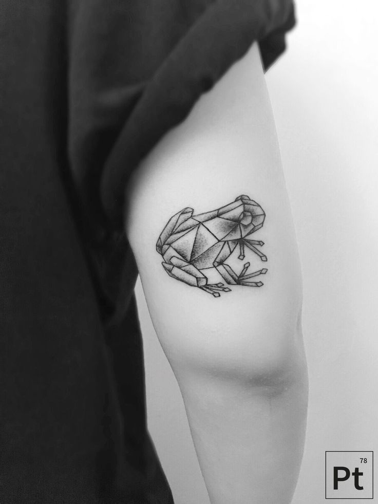 geometric frog tattoo