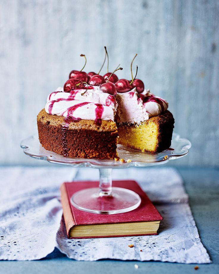 A flourless cake with elderflower, lemon and cherry cream is the gluten-free dream!