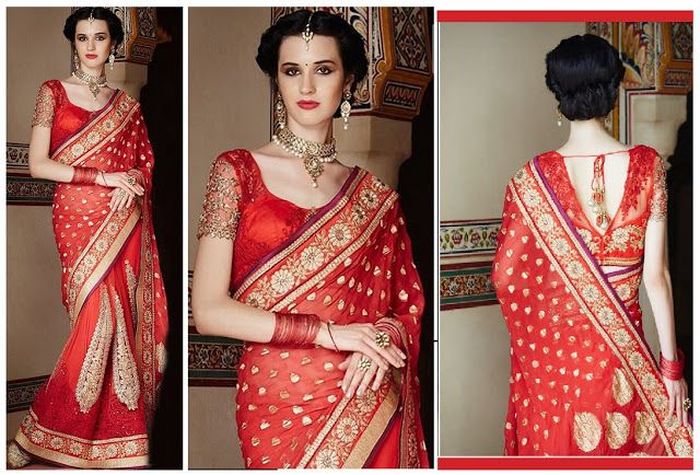 JAYSAREES BLOG WORLD: Dazzling Red Hot Heavy Work Saree