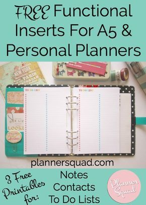 FREE Functional Inserts For A5 & Personal Planners with 3 pages for notes, contacts, & to do lists. Super cute, colorful, & fun! Get the planning you need to get done with these gorgeous free printables.