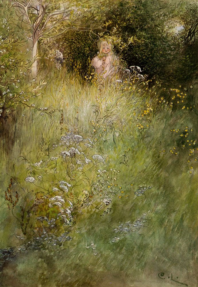 A Fairy Or Kersti And A View Of A Meadow Carl Larsson