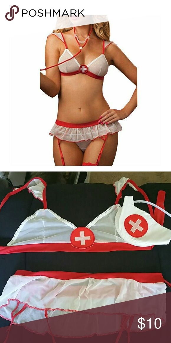 Nurse costume Very cute with micro skirt and garter belt and head band Intimates & Sleepwear Bras
