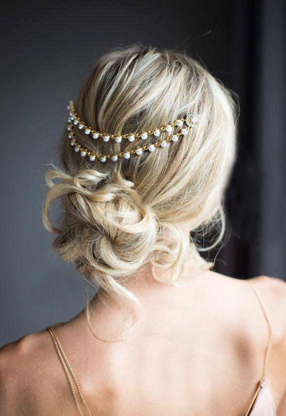Goldene Perle Braut Haar Kette Hochzeit Haar von LottieDaDesigns