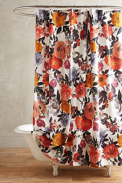 Anthropologie EU Penhurst Shower Curtain. Tumbling bouquets cast in cheerful hues lend a joyful burst of colour to showers.