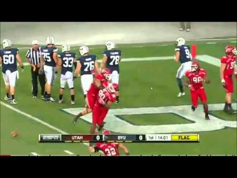 This happened on the first drive of the BYU-Utah game which meant that it was replayed throughout the game. It has to be one of the most incompetent plays ever. Still cannot figure out how Heaps missed the ball in the endzone.