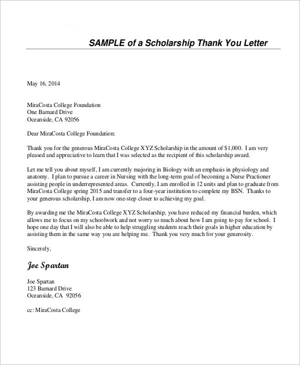 Sle Thank You Letter For Scholarship 7 Exles In Word Pdf